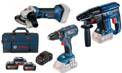Kit Combo GBH 18V-21 + GWS 18V-Li + GSB 18V-28 Bosch