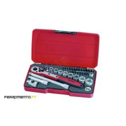 """Jogo 34 Peças 3/8"""" Teng Tools T3834"""